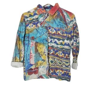 Chicos linen button down long sleeve abstract top